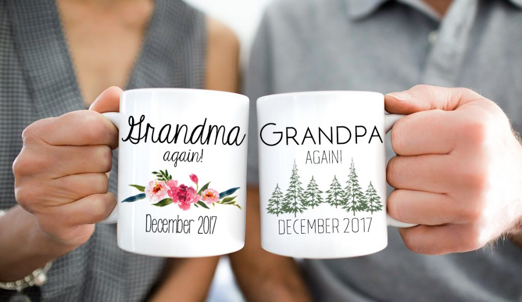 Grandma and Grandpa Again Pregnancy Reveal mug gift set